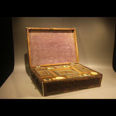 Wonderful Rare 19th Century Old Antique Chinese Carved Sandalwood Jewelry Box