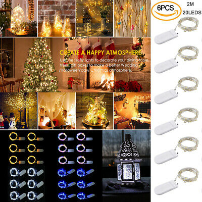 6 Pack 2M 20 LEDs Battery Micro Rice Wire Copper Fairy String Lights Party UK