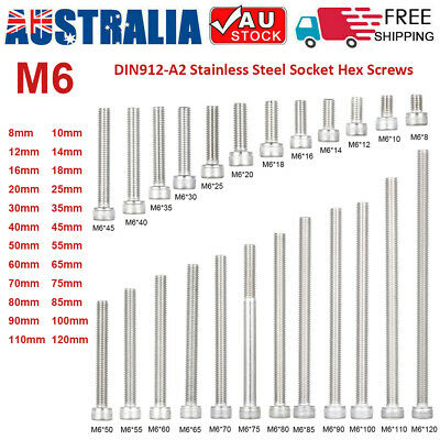 5-50Pcs M6 DIN912-A2 Stainless Steel Allen Bolt Socket Cap Screws Hex Screw AU