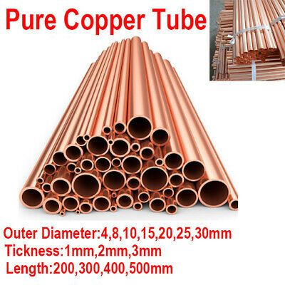 Round T2 Copper Tube Pipe Red Rod 200 300 400 500mm Dia 4 8 10 15 20 25 30mm