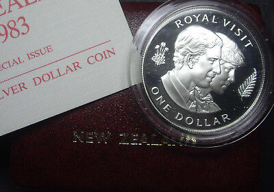 New Zealand 1983 Charles & Diana Royal Visit  silver Proof $1 coin (.8oz)