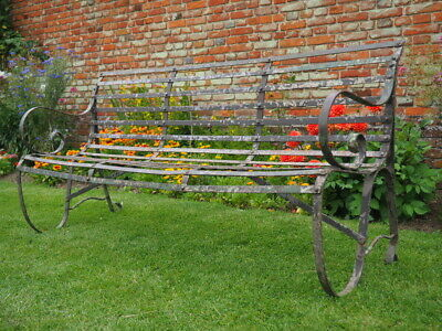 Antique Victorian Wrought Iron Rustic Garden Bench 4 Seat UK DELIVERY AVAILABLE