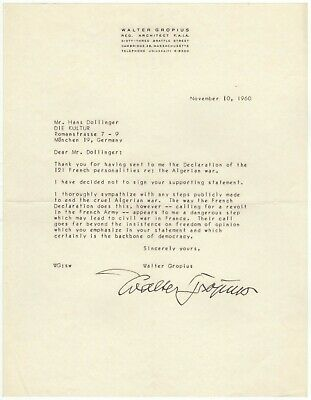 Gropius, Walter (founder Bauhaus) - Important content Typed letter signed