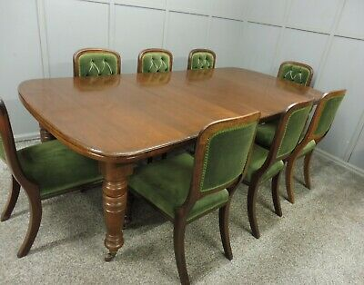 Antique Victorian 19Th C Walnut Dining Table And 8 Chairs