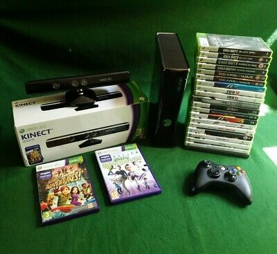 Microsoft Xbox 360 S 250GB Console-Glossy Black-Kinect Included-22 Games Also