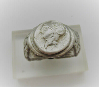 Museum Quality Ancient Greek Silver Seal Ring Head Of Athena And Lions 400Bce