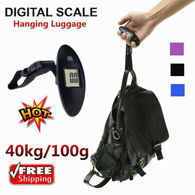 90lb Portable Electronic Digital Luggage Scale in Black Pink Blue