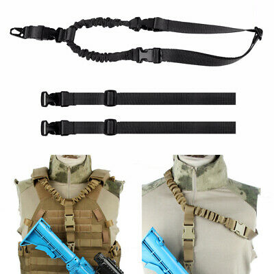 Tactical One Single Point Bungee Sling Rifle Gun Sling Strap Vest Accessory BK