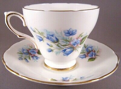 Sutherland Bone China Teacup & Saucer - Bluebell Flowers - Vintage English China
