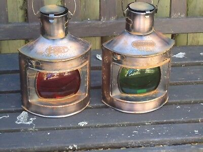 Ships Port Side & Starboard Copper Lanterns - Lamp-Portside Masthead Red Green r