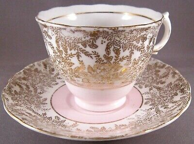 Colclough Bone China Teacup & Saucer (#6607) Pink & Gold - Vintage English China