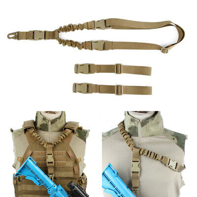 Tactical Military 1 One Single Point Bungee Rifle Gun Sling Strap Coyote Brown