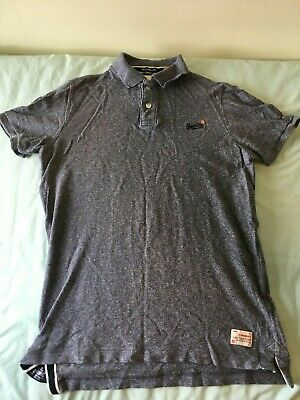 Superdry Men's Grit Grindle 'The Classic' Polo Shirt. Blue. Extra Large XL. NEW