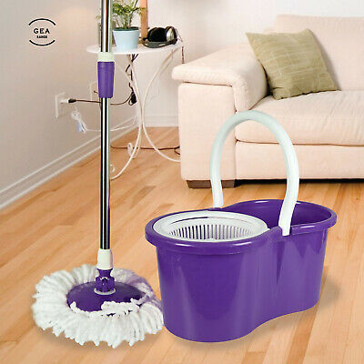 360° Spinning Home Cleaning Microfiber Mop Bucket Adjustable Handle Magic Head P
