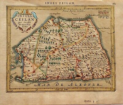 Map CEYLON Sri Lanka c1651 Mercator/Jansson Atlas Minor colour Original