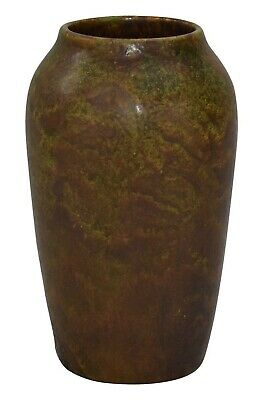 American Arts and Crafts Pottery Mottled Brown and Green Ceramic Vase