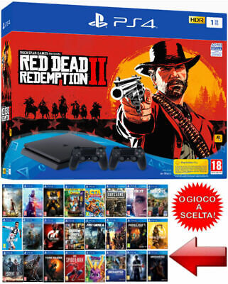 Sony PS4 1TB 2 CONTROLLER + RED DEAD REDEMPTION 2 Bundle o GIOCO a SCELTA,Nuova