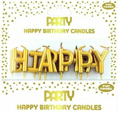 Gold Happy Birthday Letter Candles Cake Topper Decor Party Supply Celebration