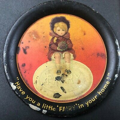 Antique Tip Tray Fairy Soap Advertising Print on Back NK Fairbank