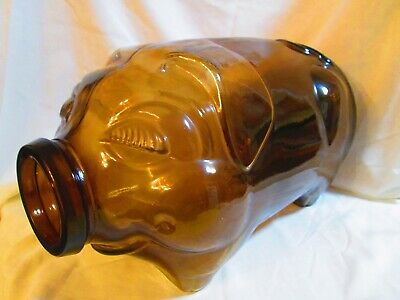"""Amber Libby 5 Gallon """"This Little Piggy Went to the Market"""" Glass Piggy Bank"""