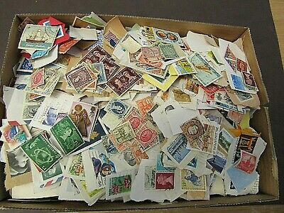 VAST COLLECTION OF STAMPS ON/OFF PAPER - IN BOX - MUCH VINTAGE - 10s of 1000s