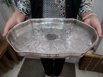 Vintage Silver Plate Serpentine Fret Cut Gallery Tray In Lovely Condition