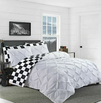 Chess Pintuck Duvet Set White Quilt Cover 100% Cotton Bedding Double Super King