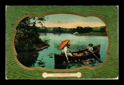 Us Postcard Vacation Enjoyment Couple Boating On Quiet Lake Gold Accents