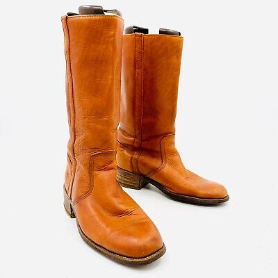 942b0c1ac3a2b VINTAGE FRYE CARAMEL Brown Leather Men's Campus Motorcycle Boots Sz ...