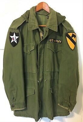 GENUINE US ARMY M51 FIELD JACKET with HOOD - Large - 1st CAVALRY DIVISION - M65