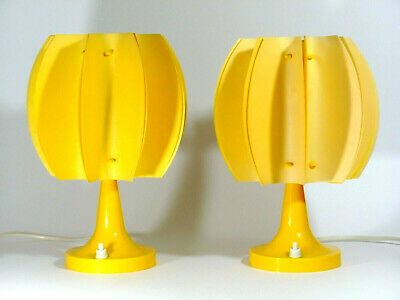 PAIR O. YELLOW BEDSIDE TABLE LAMPS DESIGN COCOON SPACE AGE 1960/70s GERMANY RETR
