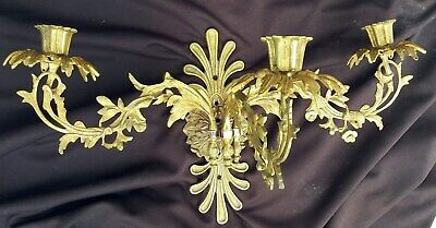 ANTIQUE FRENCH CANDLE SCONCE GOLD GILT 19TH CENTURY ORNATE aesthetic fleur