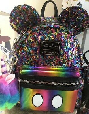 NEW Disney Parks Loungefly Rainbow Sequin Mini Backpack Mickey Mouse Ears