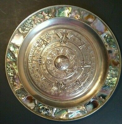 Vintage Mayan Aztec Calendar Plate With Abalone Shell & Alpaca Mexico Silver