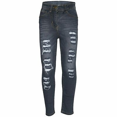Kids Girls Skinny Jeans Grey Denim Ripped Fashion Stretchy Pants Jegging 5-13 Yr
