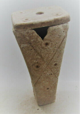Ancient Egyptian Alabaster Carved Kohl Vessel With Ring And Dot Motifs