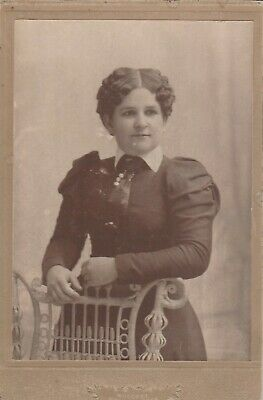 Cabinet Card Young Lady Puff Sleeve,Tie,Tie Pin Charm ,Curly Hair Hillsdale,Mi