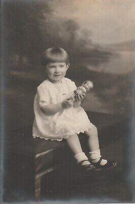 Vintage Photogrpher Little Girl Bangs, Holding Plastic Doll,Patent Leather Shoes