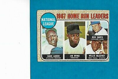 1968 Topps #5 NL HR Leaders Hank Aaron HOF Ron Santo Chicago Cubs Free ship