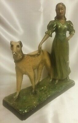 Art deco 1930's Original Metal Chalk  Figure of a Lady with Greyhound H 43 cms