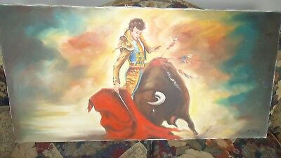 "VINTAGE Canvas Painting Spanish Matador Bull Fighter  40"" x 20"""
