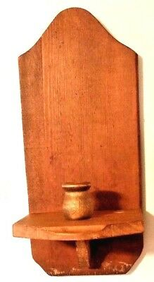 Antique Farmhouse Rustic Carved Wood Wall Sconce Candle Holder