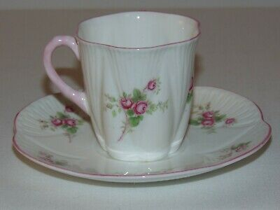 Vintage Shelley Bone China Dainty Rose Demitasse Teacup & Saucer Pink Trim