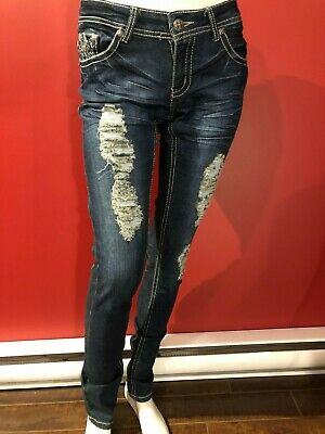 THRILL Women's Blue Denim Destroyed Skinny Jeans - Juniors Size 5 - NWT
