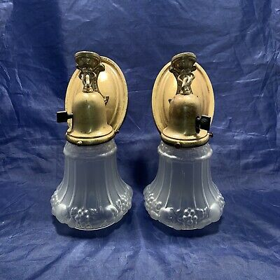Wired Pair Antique Brass Sconces Antique Shades Nice!! 78E
