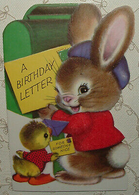 VINTAGE 60'S AMERICAN Greetings HAPPY BIRTHDAY Country Boy Bunnies