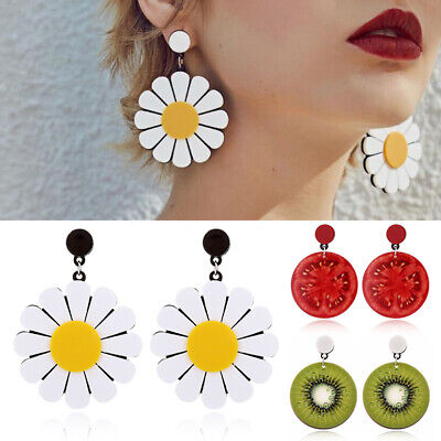 Big Fruit Cherry Earrings Lemon Green Avocado Sun Flower Drop Earrings Women