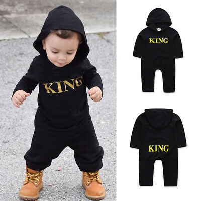 Newborn Infant Baby Boy Girl Kid King Romper Jumpsuit Bodysuit Clothes Outfits