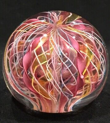 Vintage Fratelli Toso Labeled Murano glass Latticino Twisted Ribbon paperweight