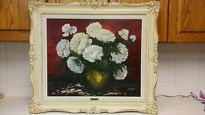 Vintage listed German-Canadian artist Rose Schul flowers oil painting.